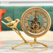 Lightweight, luxurious, creative, fashionable, pure copper seat clock, modern simple living room clock, bird bronze clock and home
