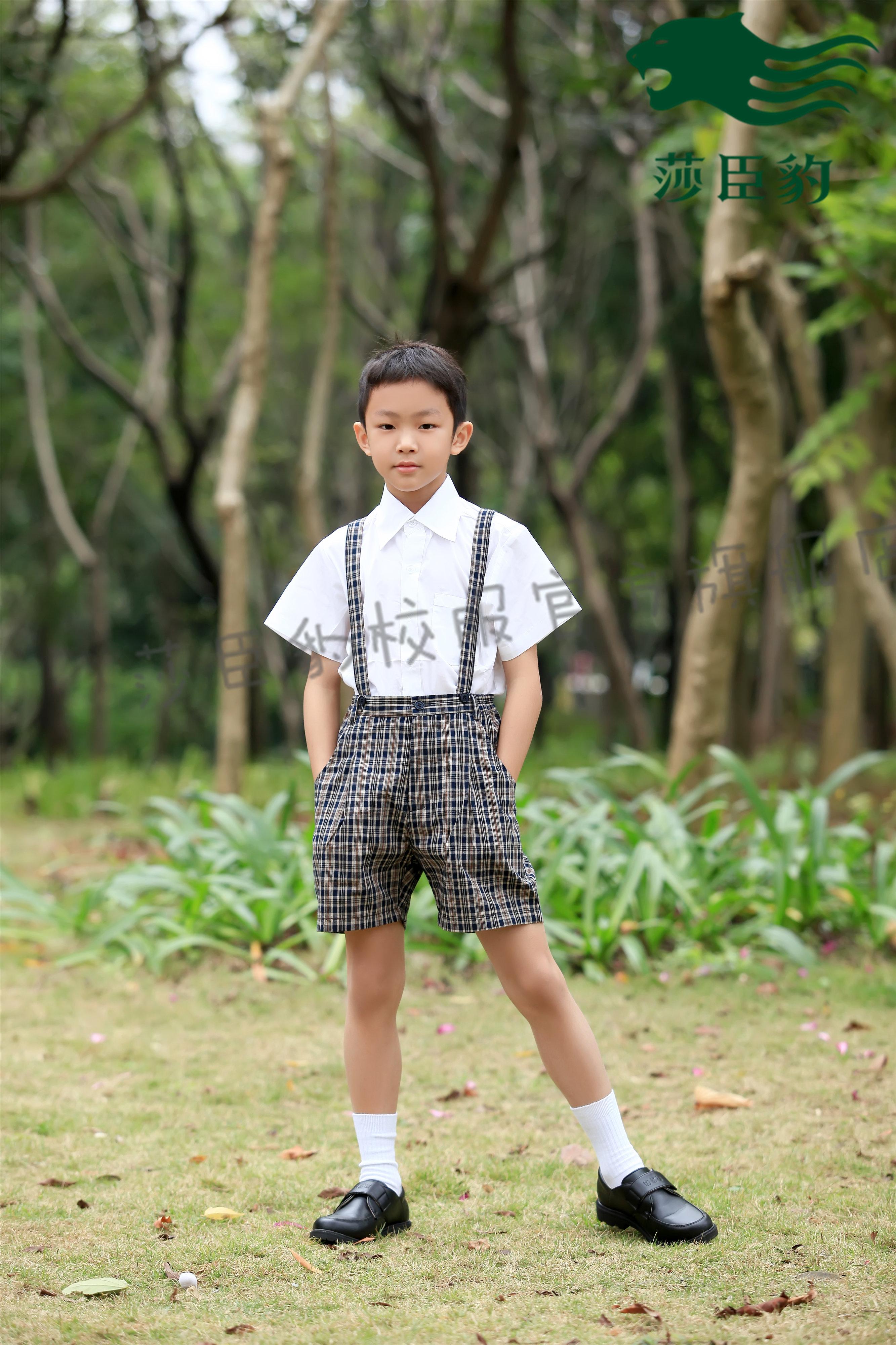 Темно Шеньчженьская школьная форма Шачен-леопардовая начальная школа мужской необработанный стиль Летнее платье( комплект верх Детский белье)