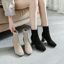 粗跟真皮百搭袜靴女中跟短靴瘦瘦靴单靴他她官方旗舰店YATOUTATA