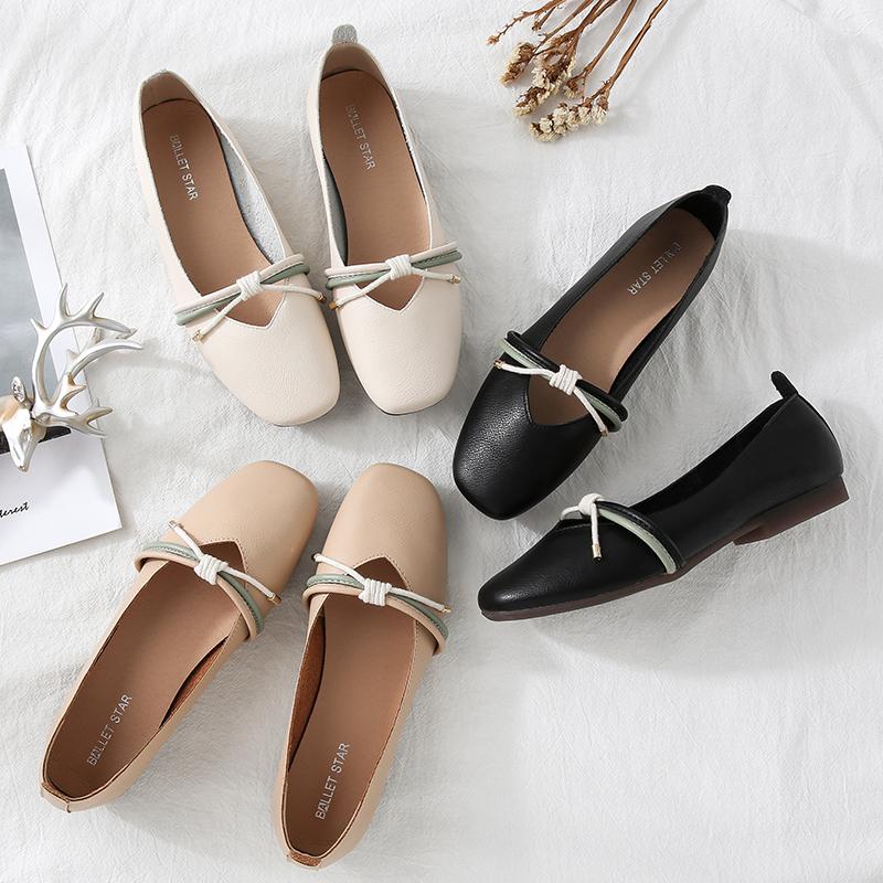 单鞋女平底2019新款百搭软皮玛丽珍奶奶鞋低跟浅口软底豆豆鞋秋季