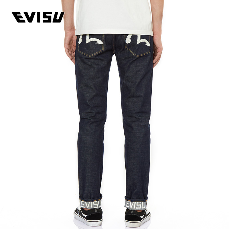 EVISU 20AW men's hand-brushed seagull print slim-fit straight-leg jeans 2EAADM0JE11410