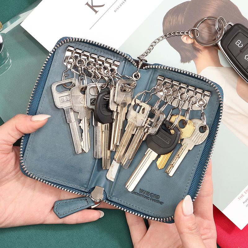 钥匙包女大容量多功能时尚韩版汽车通用锁匙包创意头层牛皮钥匙扣