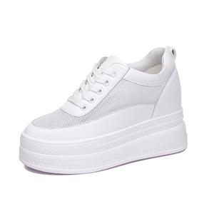 白色夏天透气内增高10cm真皮小白鞋
