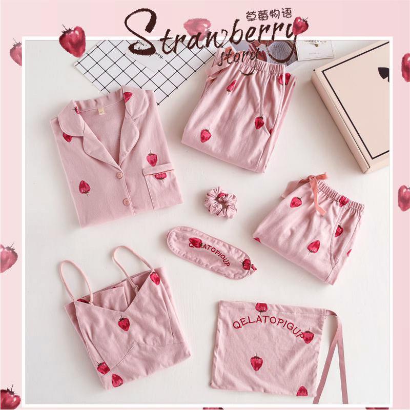 草莓七件套睡衣女春秋夏季纯棉短袖韩版清新学生可外穿家居服套装
