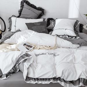 水洗棉床上用品四件套床单被罩三件套被子北欧公主风少女心4被套