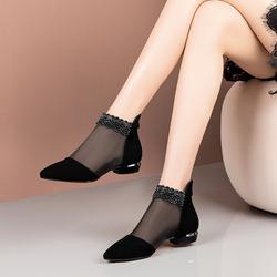 水钻网靴镂空平跟凉鞋女夏2020新款平底粗跟磨砂包头大码低跟凉靴