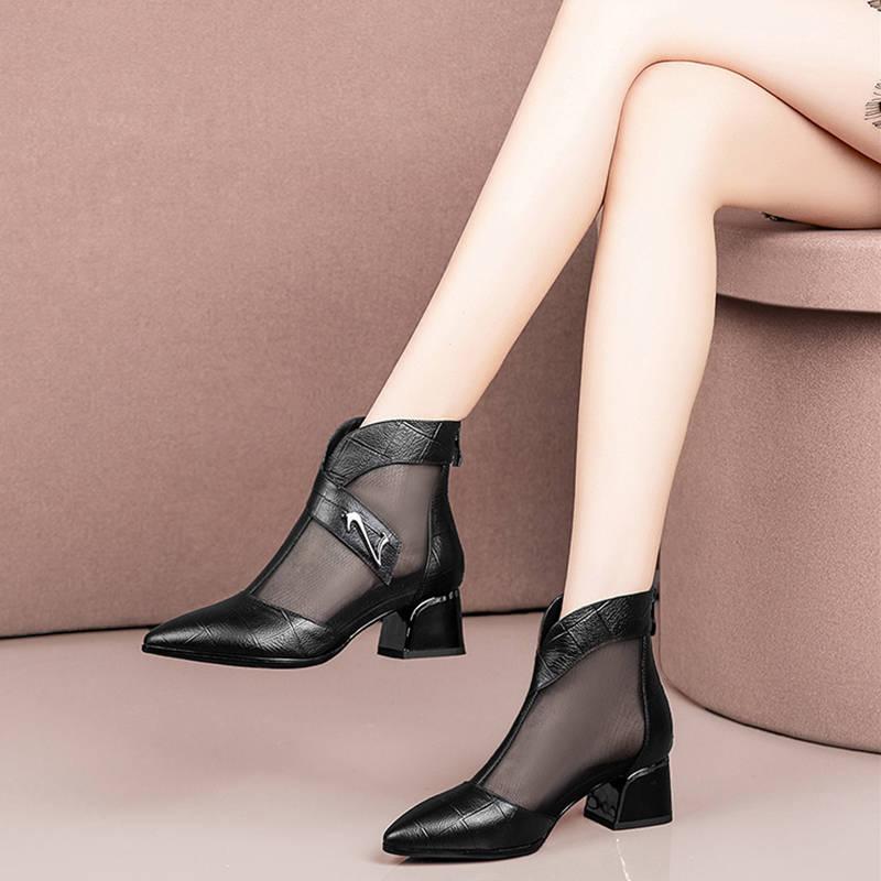 2019新款网靴女镂空凉鞋女包头中跟鞋粗跟短靴女大码女鞋凉靴子