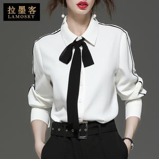 女 上衣宽松港味蝴蝶结欧货雪纺小衫 新款 白色职业衬衫 2020春装 长袖