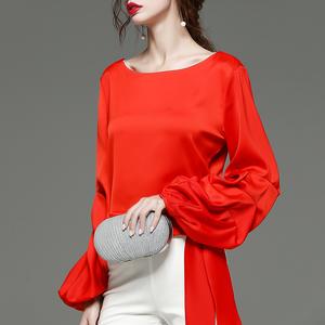 时尚潮流女装上衣气质欧货雪纺衫2020红色新款灯笼袖秋季洋气小衫