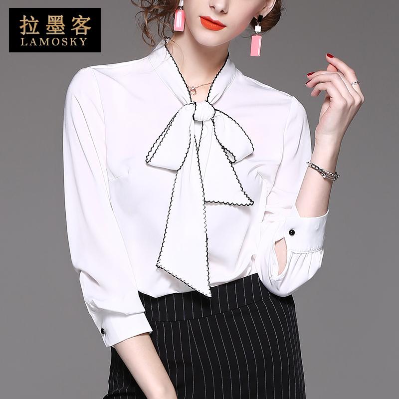 2020春装新款蝴蝶结飘带白衬衫长袖系带雪纺衫欧货洋气上衣女衬衣