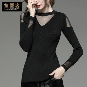 针织衫秋季新款性感镂空网纱拼接女人味上衣露肩长袖打底衫薄款女