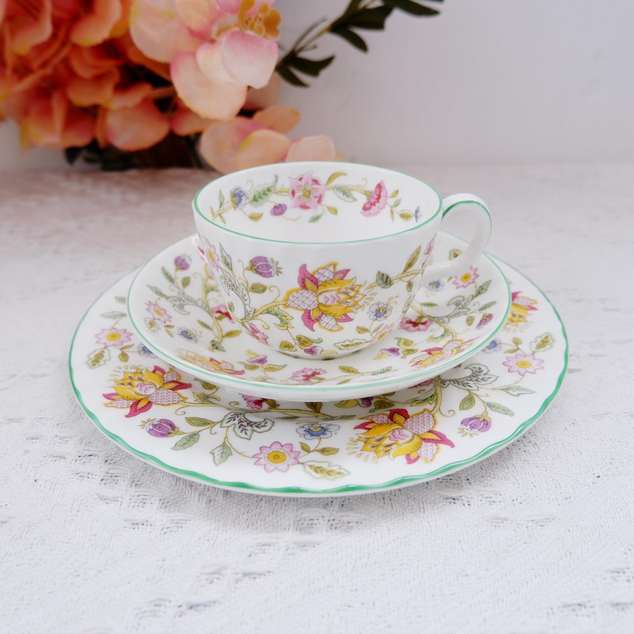 现货英国Minton明顿HADDON HALL花卉骨瓷咖啡杯茶杯马克杯点心盘