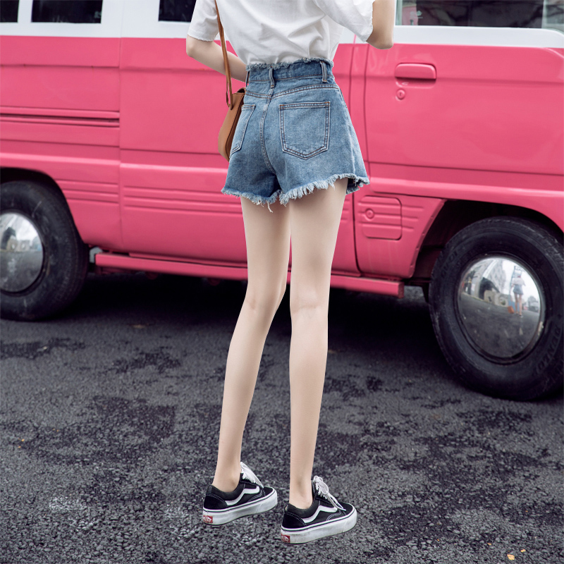 Denim shorts women's summer loose high waist 2020 new look thin wear large fat mm fashion ins wide leg pants 2019