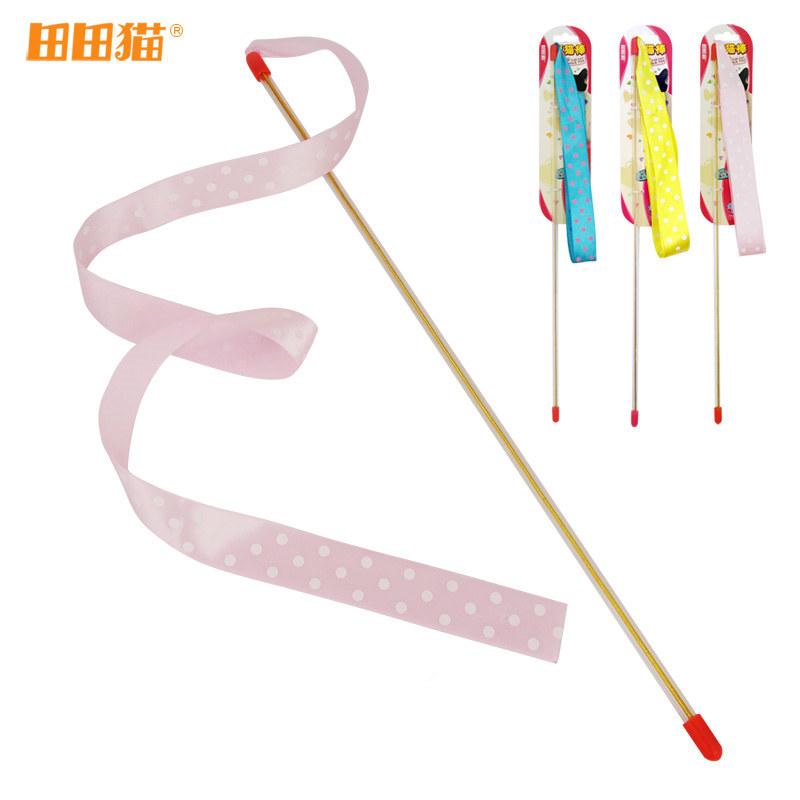 理想国田田猫可爱三色纯色波点丝带长杆逗猫棒飘带猫玩具宠物用品