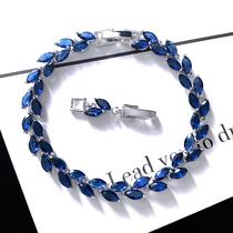 精致蓝色手链蓝宝石锆石满钻水晶时尚轻奢气质网红个性手镯饰品女