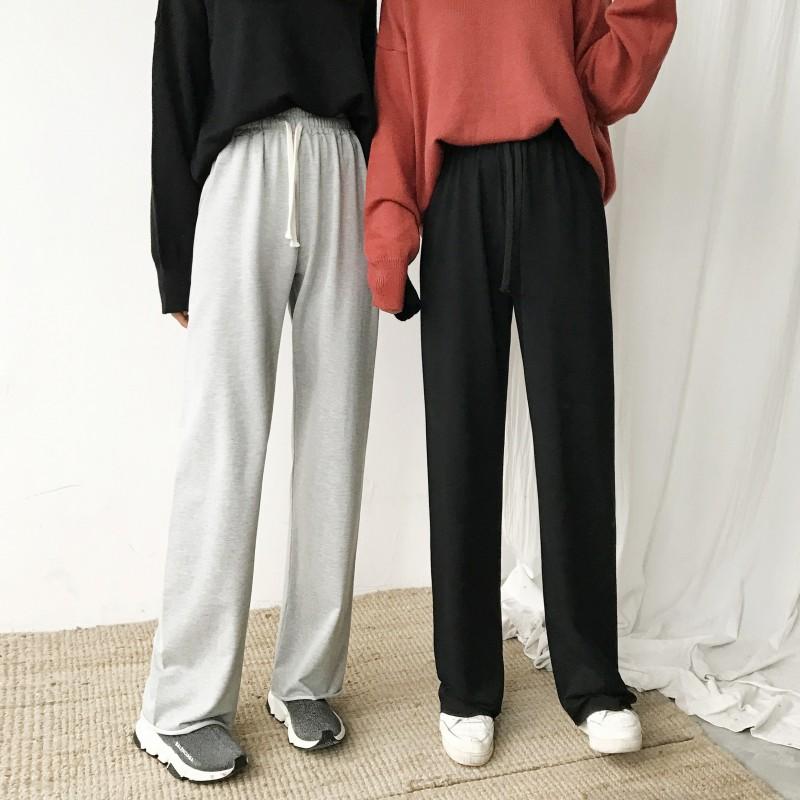 春季新款復古韓國顯瘦百搭鬆緊腰闊腿褲氣質直筒綁帶休閑褲長褲女