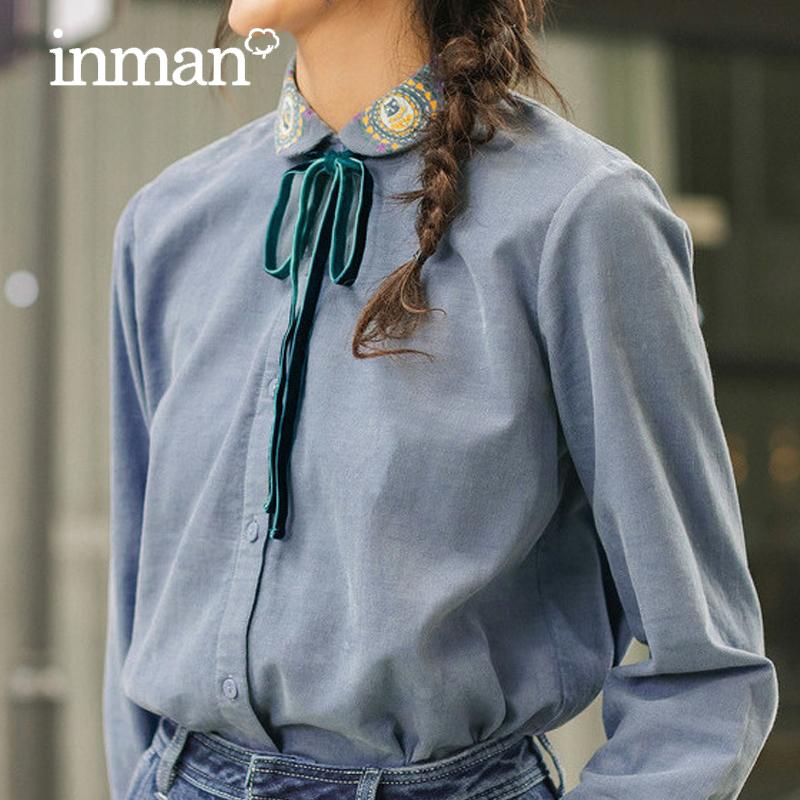 茵曼inman旗舰店秋装新款衬衣设计感小众长袖女士纯棉衬衫