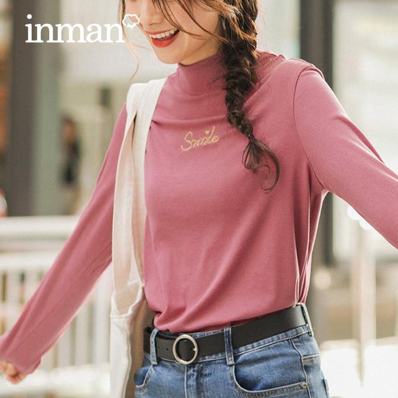 茵曼旗舰店秋装新款纯色长袖字母刺绣立领显瘦打底T恤女