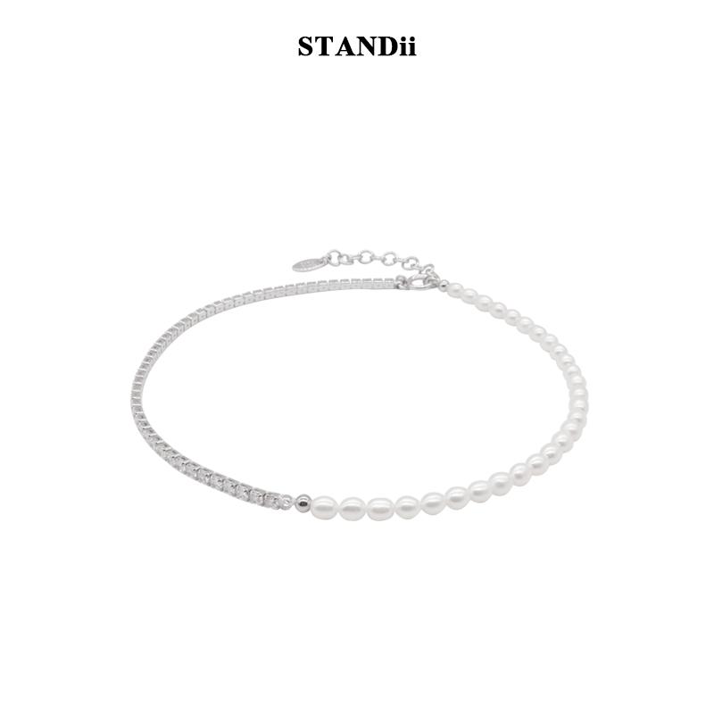 STANDii手作 不对称项链高品质感真珍珠锆石欧美choker