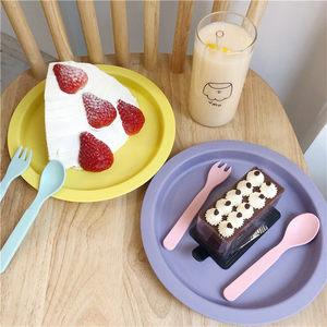 北欧韩式ins竹粉餐具圆盘野餐盘水果盘零食盘糖果色马卡龙色盘子