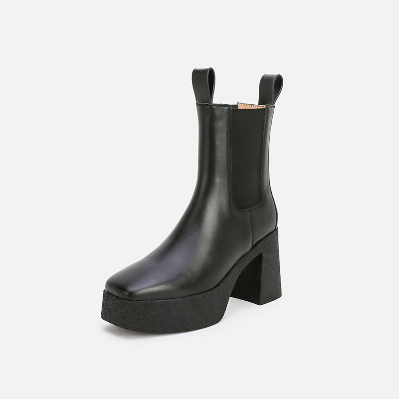 Chelsea boots womens thick soled Martin boots womens high heel short tube waterproof platform boots square head thick heel British short boots fashion