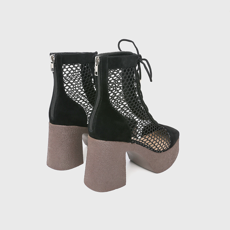 Roman sandals womens high heeled shoes thick heel thick bottom muffin single shoes Square Head summer Baotou high top lace up gauze cool boots