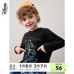 迪士尼童装男童秋装打底衫2021春秋新款洋气儿童卡通长袖T恤潮