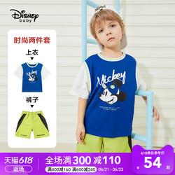 迪士尼童装男童洋气套装梭织时尚中裤短袖T恤儿童休闲宝宝时髦潮