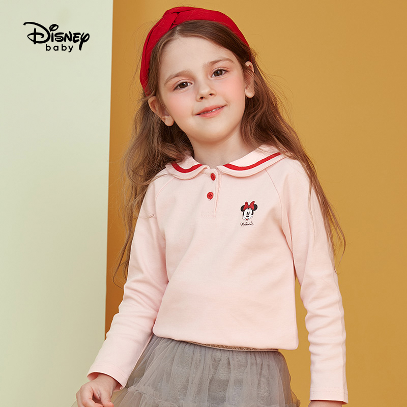 Disney children's spring children's long sleeve T-shirt pure cotton ocean collar top bottom