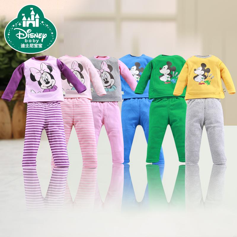 迪士尼寶寶內衣褲 兒童保暖內衣套裝 男女童加厚加絨秋衣秋褲套裝