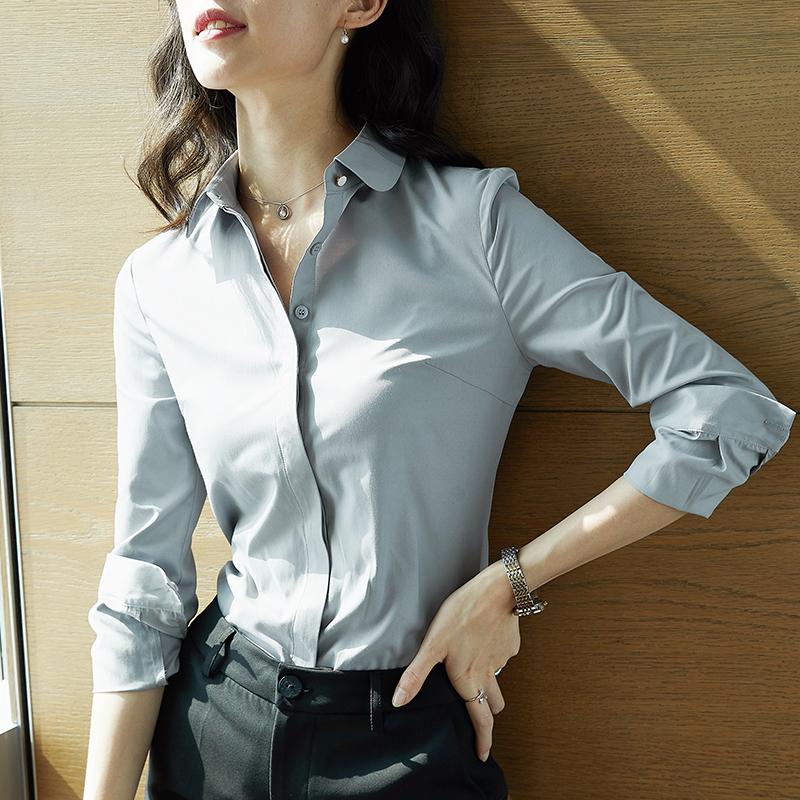 雀后职业女长袖春装新款气质白衬衫