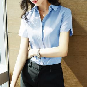 雀后蓝色女短袖七分袖职业白衬衣