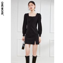 ONE MORE2021秋冬新款法式方领连衣裙黑色高腰显瘦复古泡泡袖裙子