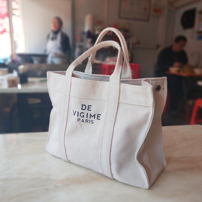 韩版女手提拎包帆布英文餐包饭盒袋