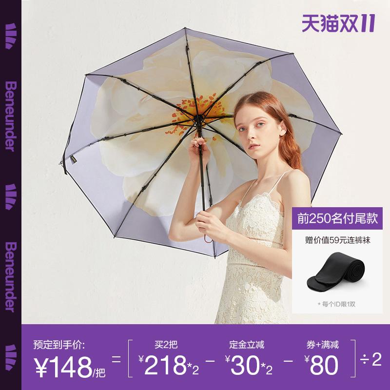 【预售】蕉下莲町太阳伞遮阳小黑伞防晒雨伞女晴雨两用双层黑胶伞