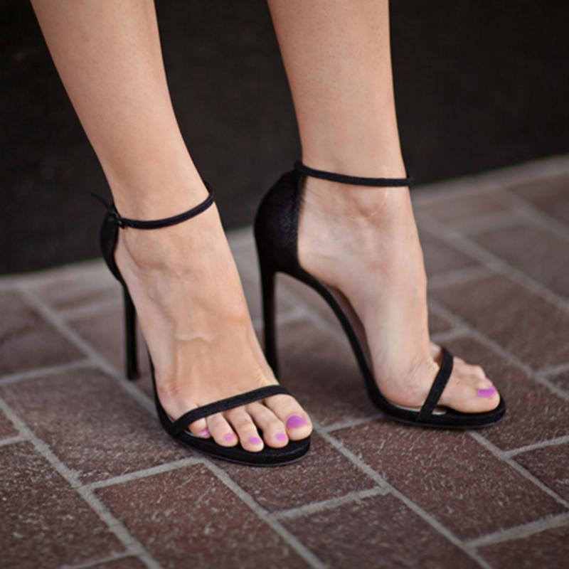 高跟鞋女2020年新款細跟一字帶高跟涼鞋女黑色防水臺性感時裝涼鞋