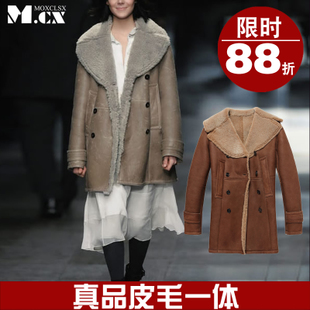 M CX high end customized classic big fur collar double breasted coat fur coat 614