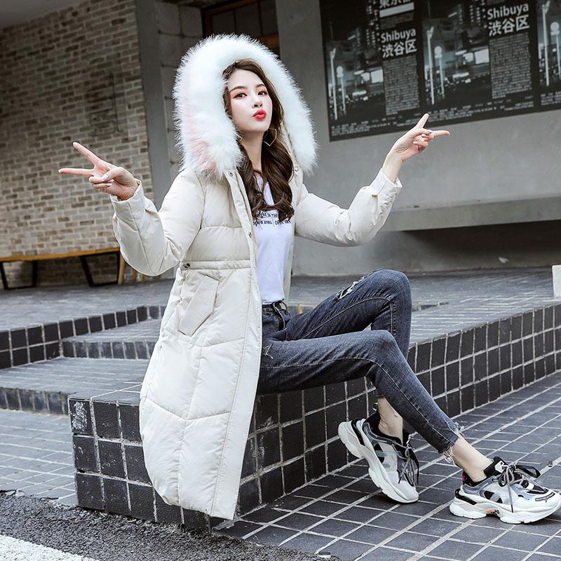 羽绒棉服女中长款2019年新款冬季女装时尚棉衣收腰棉袄派克外套潮