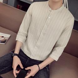 夏季衬衫男 男士亚麻七分袖圆领中袖衬衫 CS22/P55