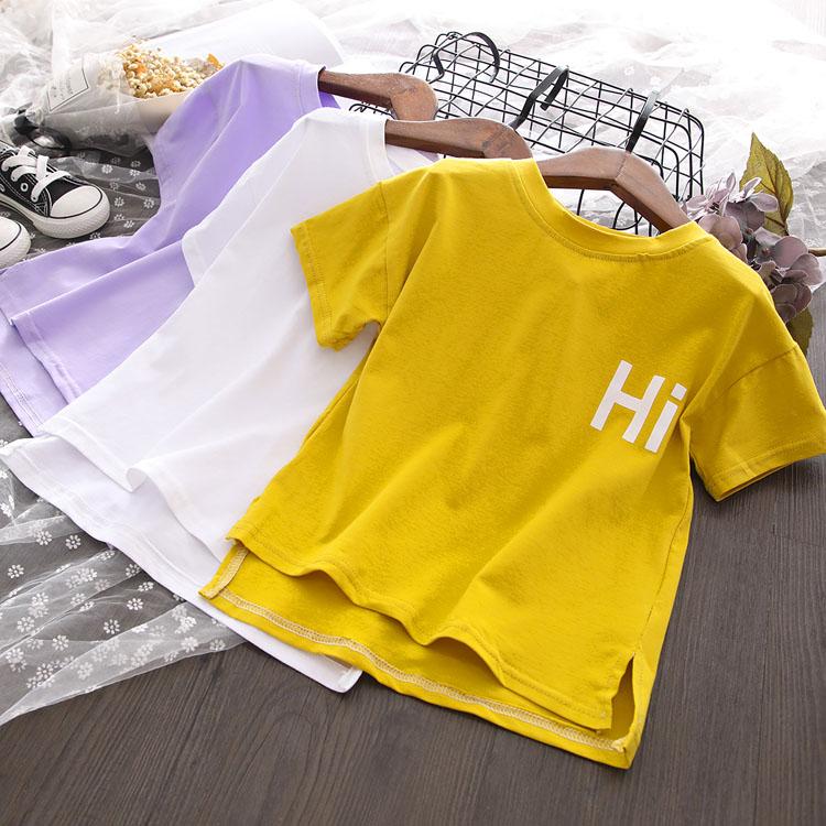 2020女宝宝宽松舒适字母印花上衣 女童夏季新品时尚休闲短袖T恤