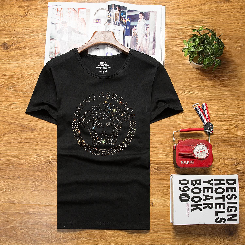 夏季美杜莎社会精神小伙男短袖T恤烫钻修身韩版圆领潮牌大码半袖