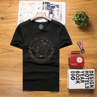 圆领潮牌大码 T恤烫钻修身 半袖 韩版 美杜莎社会精神小伙男短袖 夏季