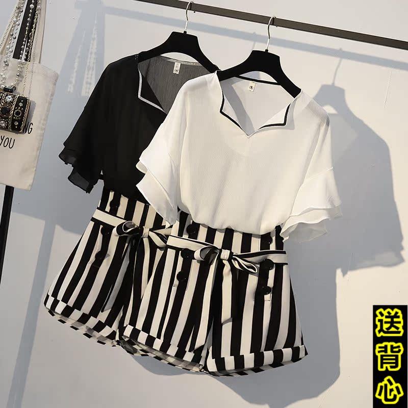 大码女装2018夏装新款胖mm腰粗遮肚子宽松显瘦洋气时髦两件套装潮