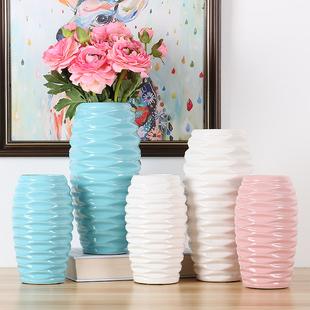 北欧时尚创意蓝色白色陶瓷花瓶鲜花干花花器餐桌客厅插花家居摆件
