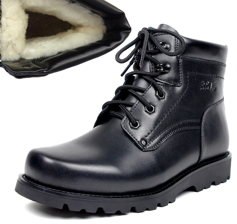 3513 boutique mens genuine leather wool military boots high top warm cotton shoes thick soled non slip mens cotton shoes cattle leather boots