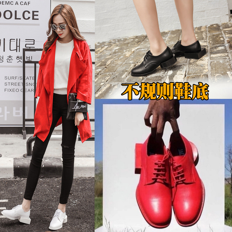 European and American thick heel leather shoes 2017 new asymmetric round lace up square root irregular heel personalized single shoes