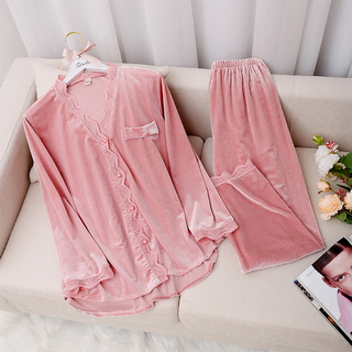 金丝绒花边睡衣女秋季甜美性感对襟长袖两件套青年韩版外穿家居服