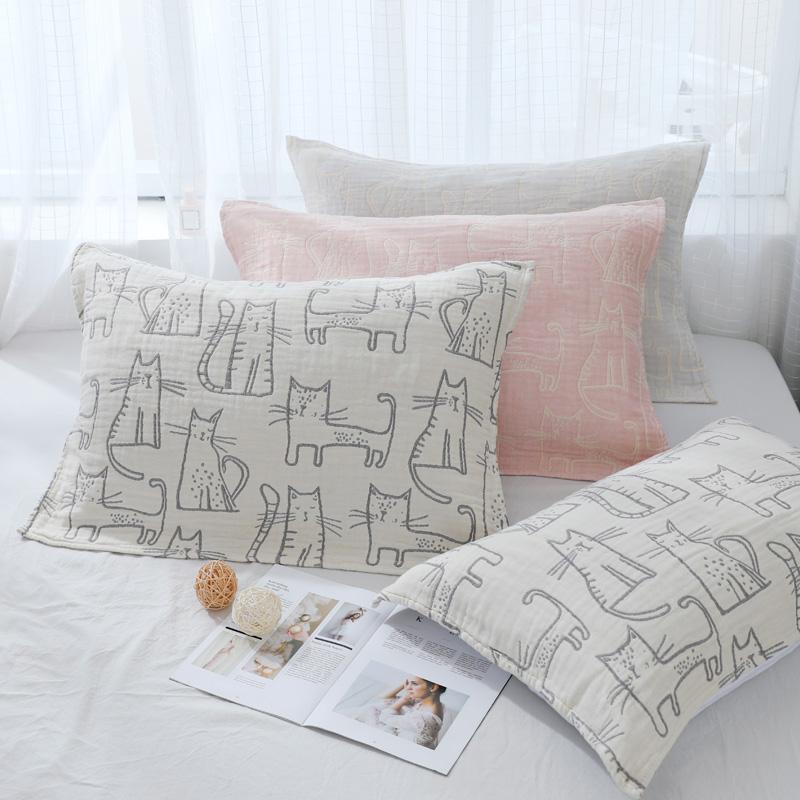 四层猫咪全棉纱布枕巾大尺寸情侣单人枕巾双人一对纯棉加厚一对装