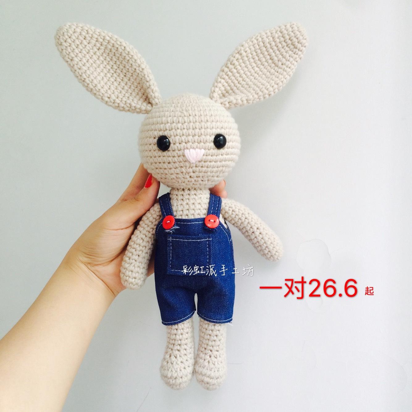 Diy ручной работы вязание крючком ткать шерстяной куклы нагрудник длинные уши кроликов материалы творческий подарок подарок специальное предложение
