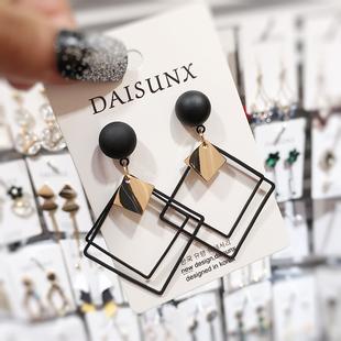 韩国2019春夏新款 潮流铁片耳饰耳环女耳钉 时尚 黑色菱形气质个性